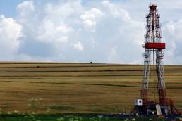 Plataforma de perforación de gas en el campo