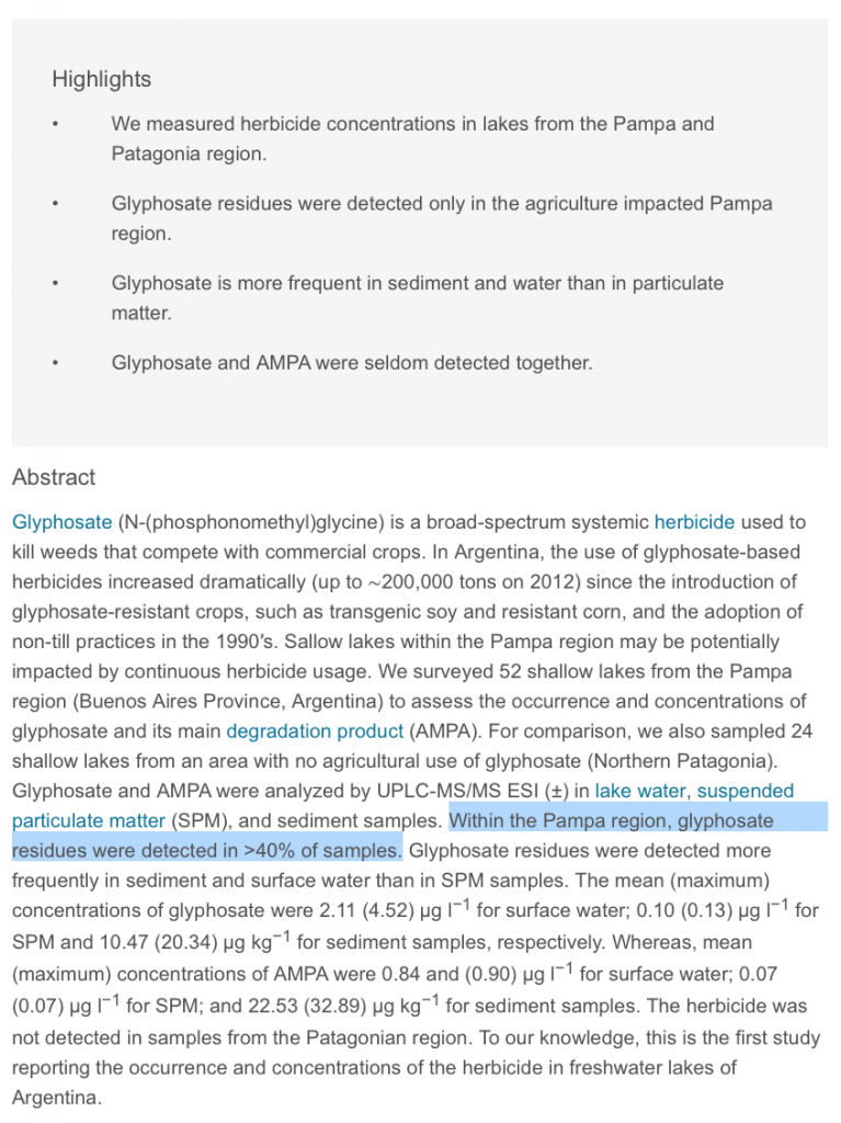Occurrence and levels of glyphosate and AMPA in shallow lakes from the Pampean